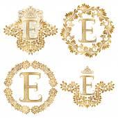 Fotografie Goldenen Buchstaben E Vintage Monogramme festgelegt. Heraldische Monogramm im Wappen und Runde Rahmen