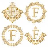 Fotografie Goldenen Buchstaben F Vintage Monogramme festgelegt. Heraldische Monogramm im Wappen und Runde Rahmen