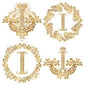 Fotografie Goldene Buchstabe I Vintage Monogramme festgelegt. Heraldische Monogramm im Wappen und Runde Rahmen