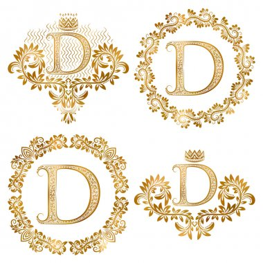 Golden letter D vintage monograms set. Heraldic monogram in coats of arms and round frames.