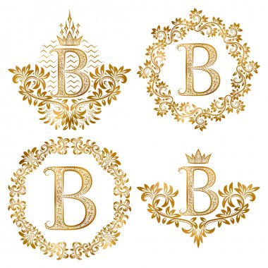 Golden letter B vintage monograms set. Heraldic monogram in coats of arms and round frames.