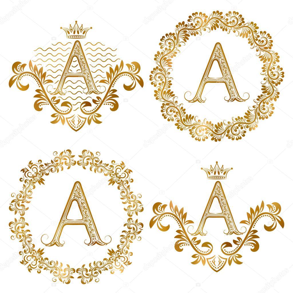 Lettres D Or Un Millesime Monogrammes Ensemble Monogramme