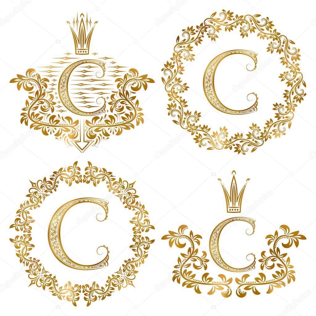 Conjunto vintage monogramas de oro letra C. Monograma heráldica de ...