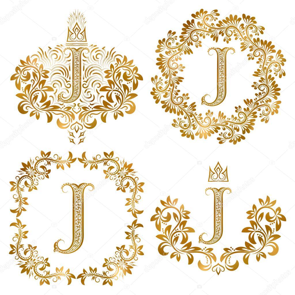 La Valeur Or Lettres J Vintage Monogrammes Monogramme Heraldique