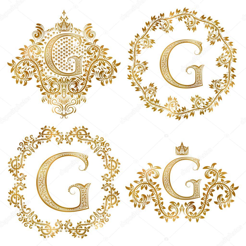 Monogrammes Vintage De La Lettre Or G Definie Monogramme Heraldique