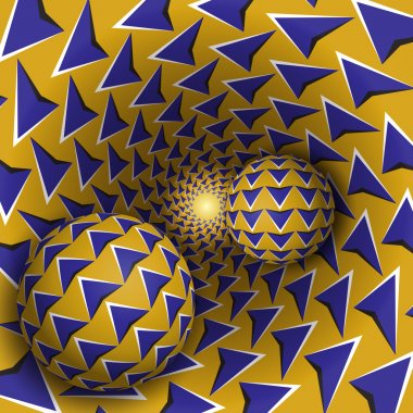 Two balls with arrows pattern are moving on rotating blue arrows yellow funnel