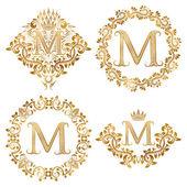 Fotografie Goldenen Buchstaben M Vintage Monogramme festlegen