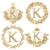 Fotografie Goldenen Buchstaben K Vintage Monogramme festlegen