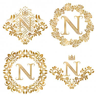 Golden letter N vintage monograms set.