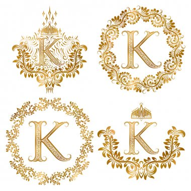 Golden letter K vintage monograms set.