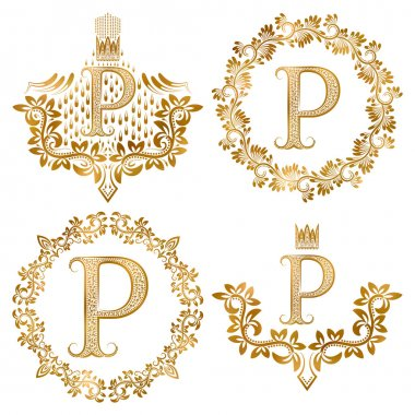 Golden P letter vintage monograms set.