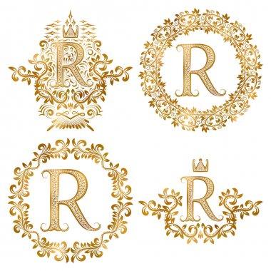 Golden R letter vintage monograms set