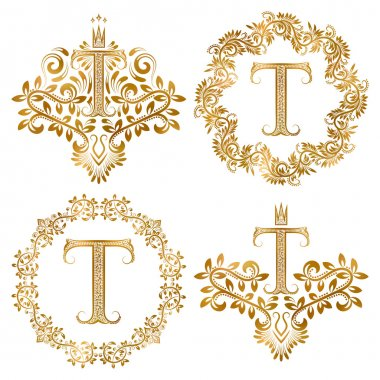 Golden T letter vintage monograms set.