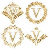 Fotografia Impostare dorati monogrammi dellannata di lettera V