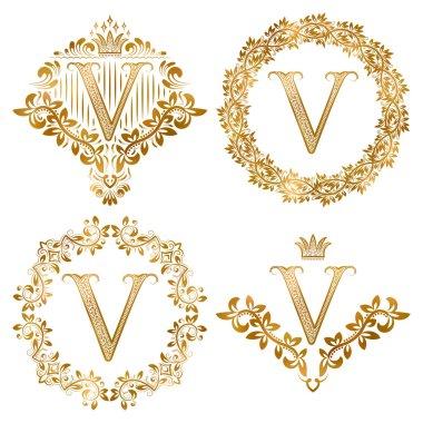Golden V letter vintage monograms set