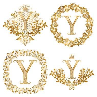 Golden Y letter vintage monograms set