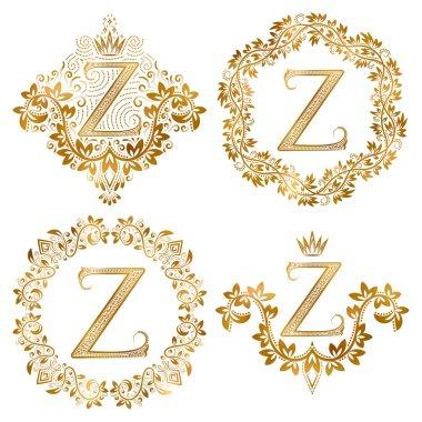 Golden Z letter vintage monograms set