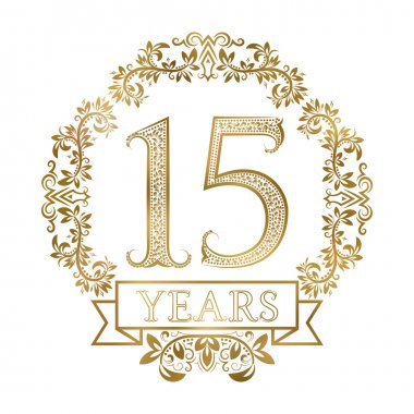 Golden emblem of fifteenth years anniversary in vintage style.
