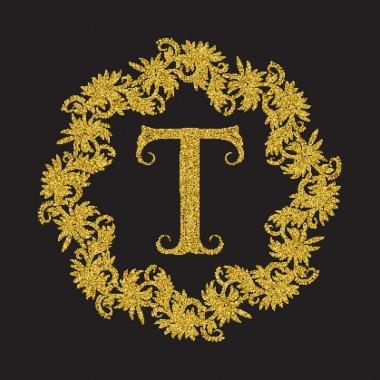 Golden glittering letter T monogram in vintage style