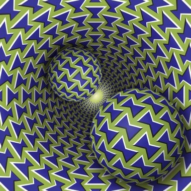 Optical illusion illustration. Two balls are moving on rotating funnel.