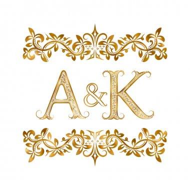 A&K vintage initials logo symbol.