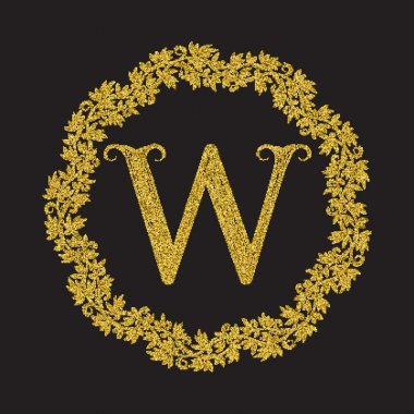Golden glittering letter W monogram in vintage style