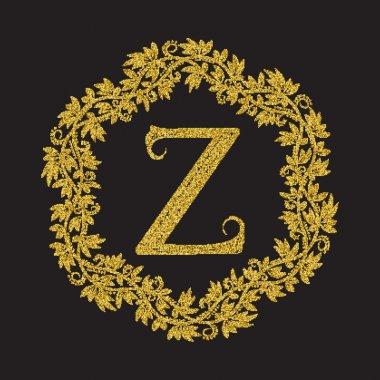 Golden glittering letter Z monogram in vintage style