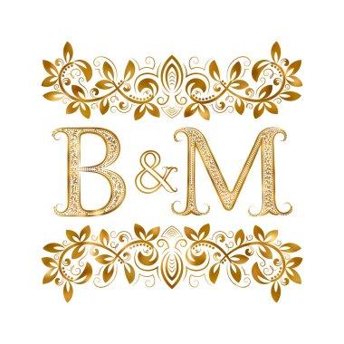 B&M vintage initials logo symbol.