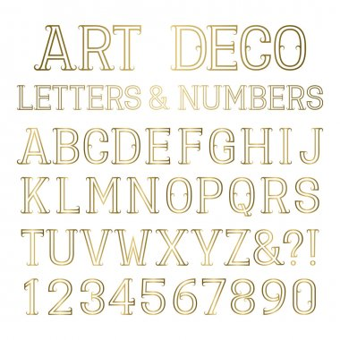 Shiny gold capital letters and numbers in art deco style.