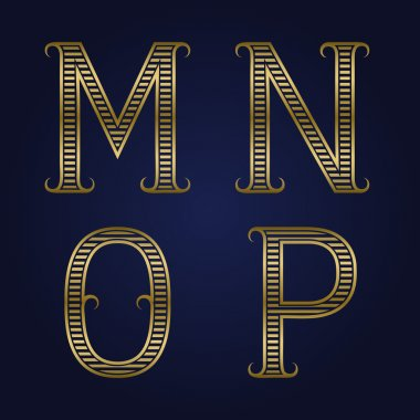 M, N, O, P golden ribbed letters with flourishes.