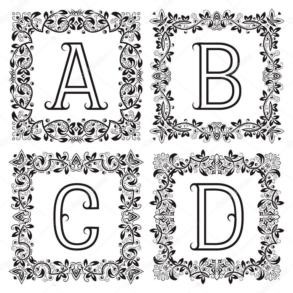 Conjunto Vintage monogramas. A, B, C, D letras en marcos cuadrado ...