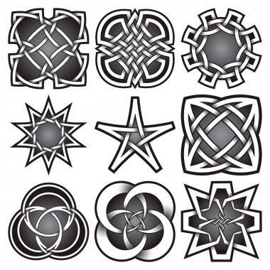 Set of logo templates in Celtic knots style. Tribal tattoo symbols package