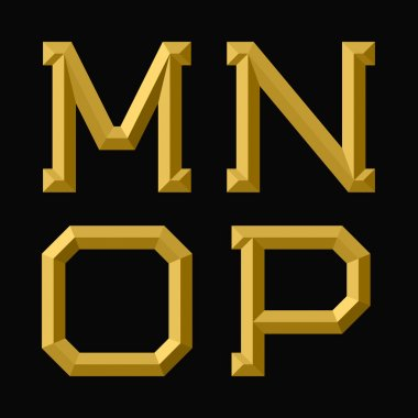 M, N, O, P gold faceted letters.