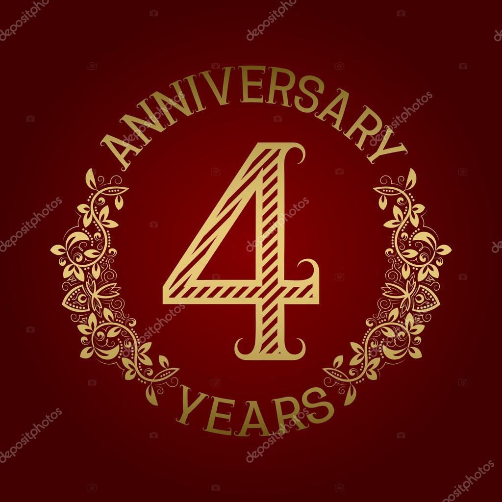 Emblema dorado de cuarto aniversario vector de stock for Cuarto aniversario