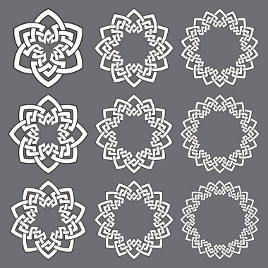 Set of round frames. Nine decorative elements for logo design with stripes braiding borders. White lines with black strokes on gray background. icon