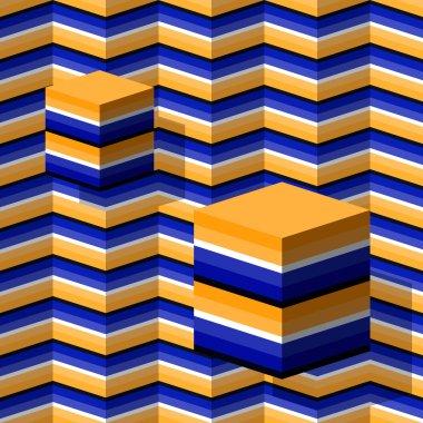 Cubes moving upwards seamless pattern