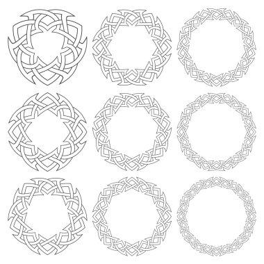 Nine decorative logo elements