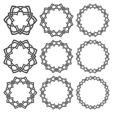 Nine decorative logo elements with stripes braiding for design