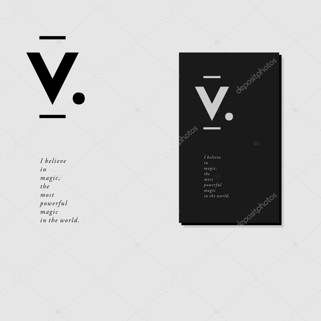 En Tte De Lettre Et Carte Visite Design Avec Monogramme V Style Minimal Illustration Vectorielle Vecteur Par Aiymdesign