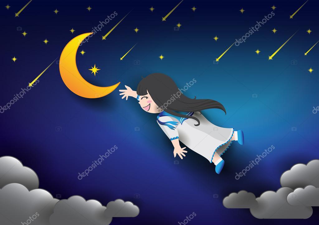 夜の空を飛んでいるかわいい女の子 ストックベクター Zwd 79681076