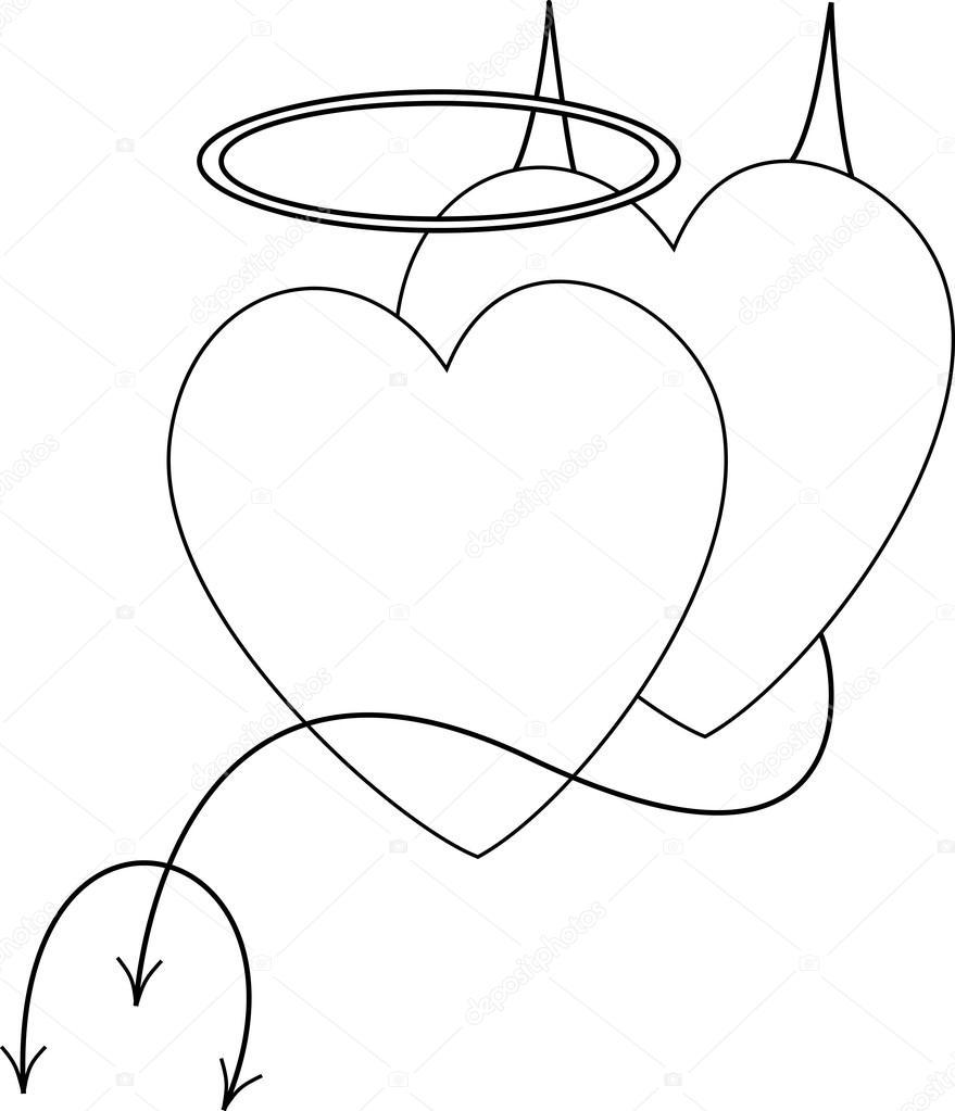 malvorlagen engel und teufel  x13 ein bild zeichnen