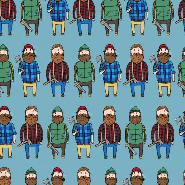 Seamless pattern with cute lumberjacks