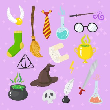 Different magic elements for witches in cartoon style