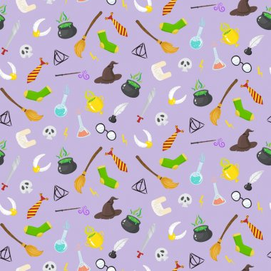 Seamless pattern with different magic elements for witches in ca