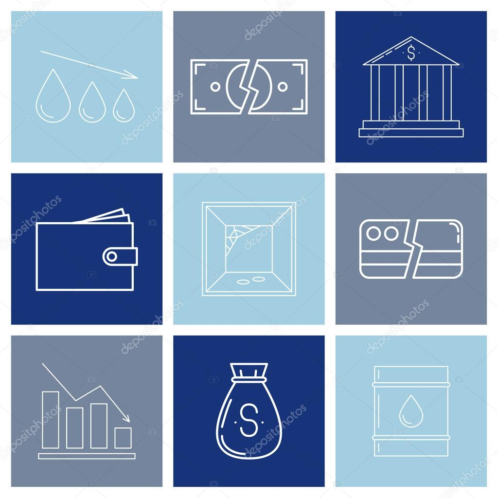 Set Of Economy Crysis Icons Stock Vector Merionmerion 115362064