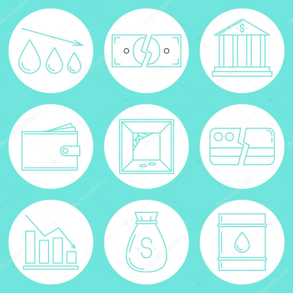 Set Of Economy Crysis Icons Stock Vector C Merion Merion 115362070
