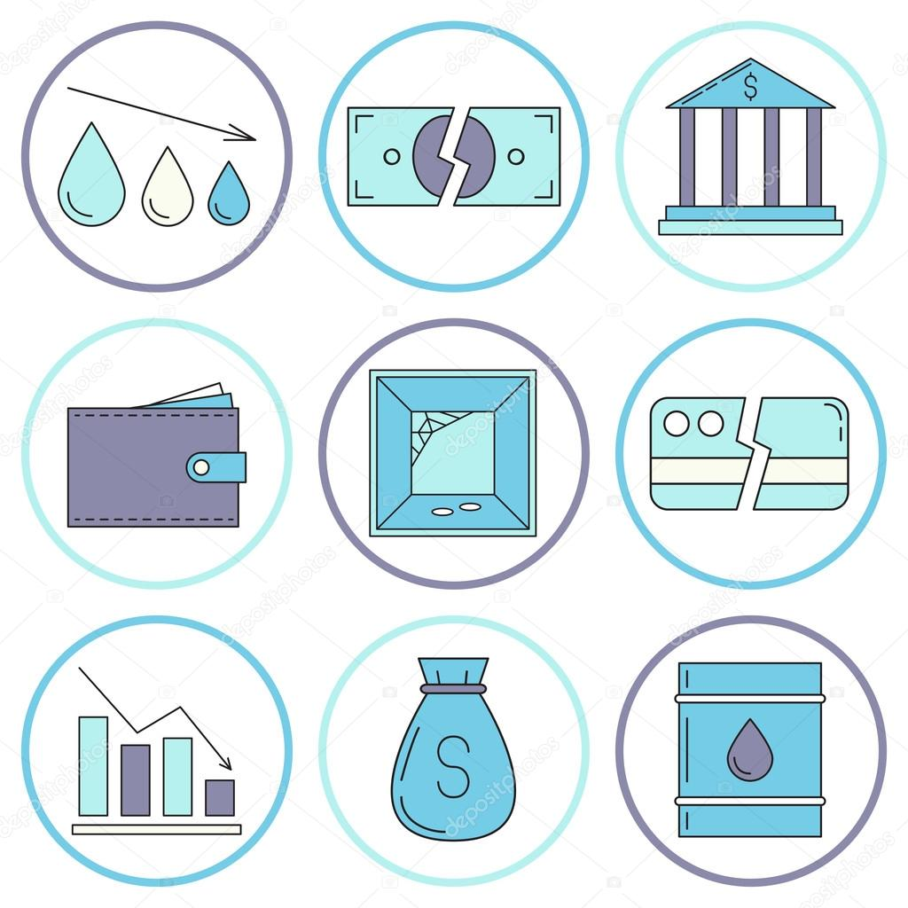 Set Of Economy Crysis Icons Stock Vector C Merion Merion 115362146