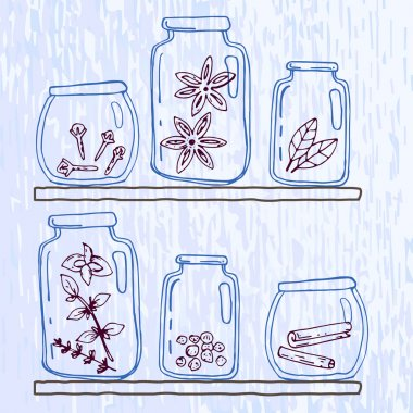 Set of pellucid glass jars with different spices in sketch style