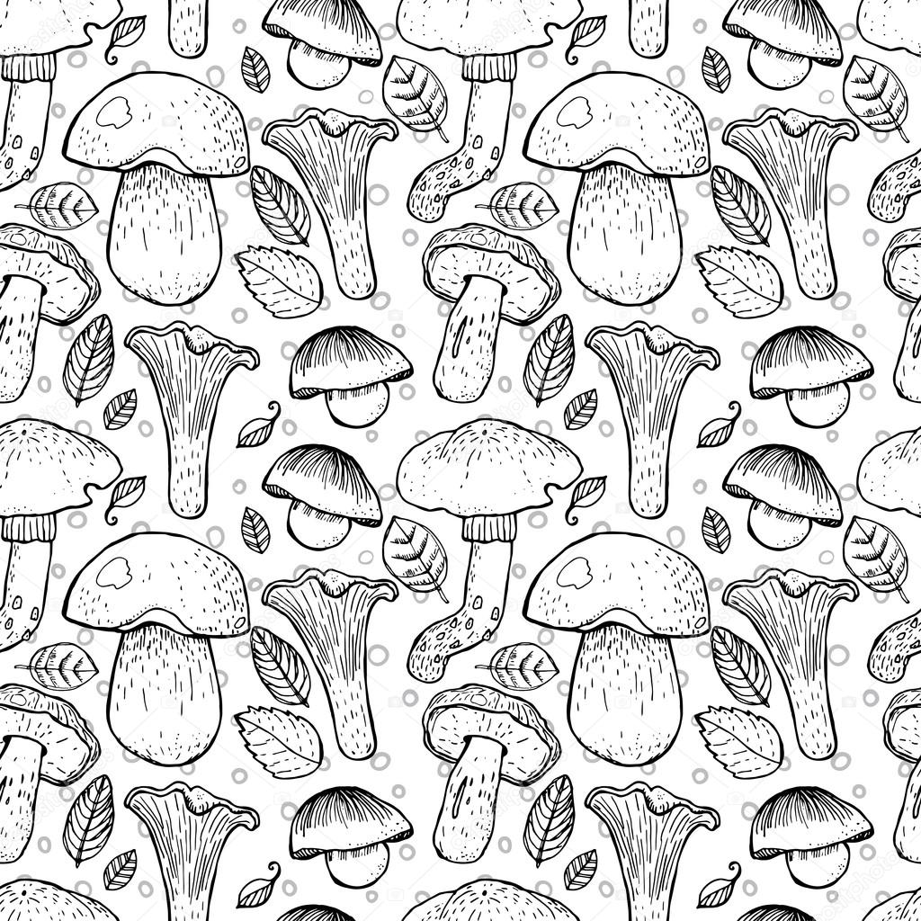 Seamless pattern with different mushrooms