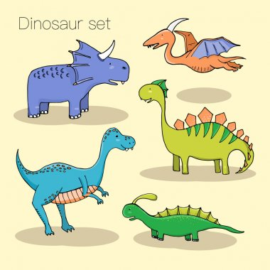 Set of different cute dinosaurs, mountauns and eggs in cartoon s